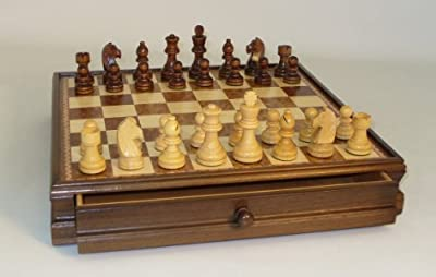 "Chess Set Inlaid Drawer Chest with 3.5"" Chessmen"