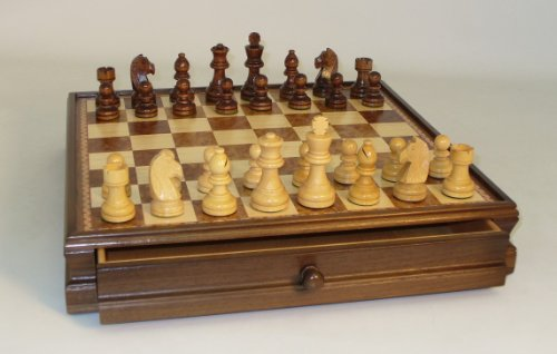 Walnut Chess Table - Chess Set Inlaid Drawer Chest with 3.5