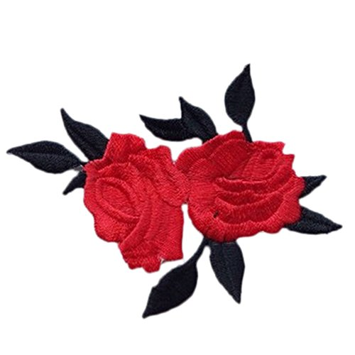 White Rose Patch Iron On Rose Embroidery Patches - Cute Colorful Rose Applique Flowers Patch Embroidered Sew Iron on Clothes Bags Handmade DIY Craft Ornament Fabric Sticker - White Iron On Roses (1)