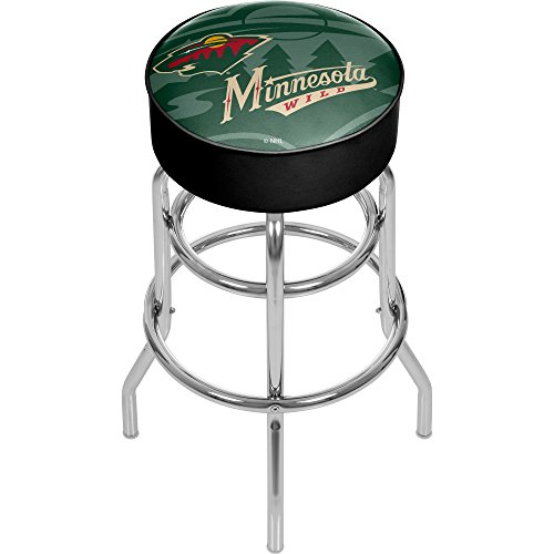 Trademark Gameroom NHL1000-MW-WM NHL Chrome bar Stool with Swivel - Watermark - Minnesota Wilda