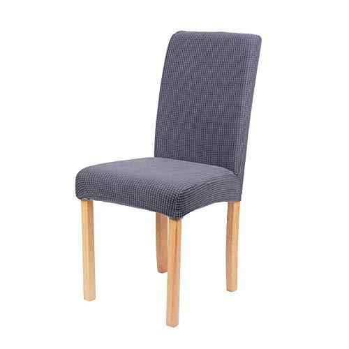 fundas para sillas de oficina elasticas, fundas de terciopelo liso para sillas elasticas, cojin de silla de hotel para el hogar de media seccion-juego de piezas gris A_4, cena de banquete de boda