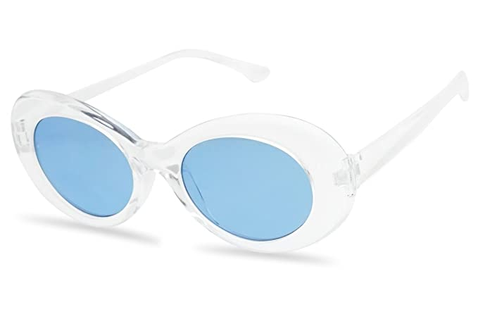 ee6ffaaf65 White Oval Clout Goggles Bold Retro Thick MOD 51mm Round Lens Sunglasses  (Clear