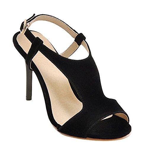 Carolbar Femme Boucle Peep Toe Stilettos Haut Talon Sandales De Soirée Noir