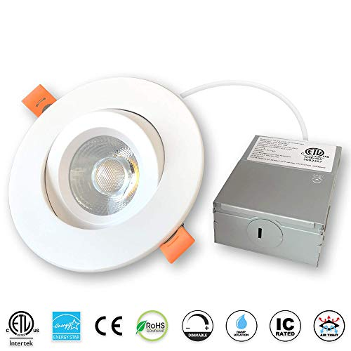 4 inches Gimbal LED Recessed Light with Junction Box, 15W,1000 Lumen, Tilt & Rotate, TRIAC Dimming, ETL & Energy Star Listed, 3000K Warm White, Pack of 1