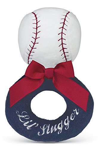 Plush Baseball (Bearington Baby Lil' Slugger Plush Stuffed Animal Baseball Soft Ring Rattle 5.5
