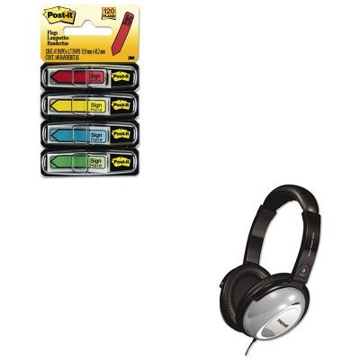 KITMAX190400MMM684SH - Value Kit - Maxell HP/NC-II Noise Canceling Headphone (MAX190400) and Post-it Arrow Message 1/2amp;quot; Flags ()