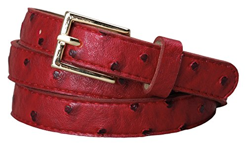 Womens Square Buckle Color Ostrich Print Leather Skinny Belt (XL(37.5