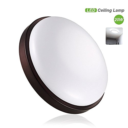 S&G 20W LED Ceiling Lights 140W Incandescent Equivalent Dome Brown Flush Mount Ceiling light Recessed Lighting for Bedroom, Kitchen, Hallway (Cool White)