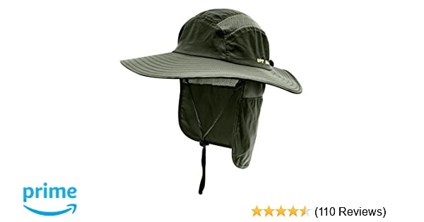 Home Prefer Mens UPF 50+ Sun Protection Cap Wide Brim Fishing Hat with Neck  Flap ... 9b35878d8688