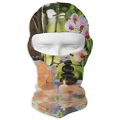 Wind Proof Dust Head Hood Neck Warmer Spa Massage Composition Spa Theme with Candles Orchids and The Stones in Garden Pale Green Fuchsia