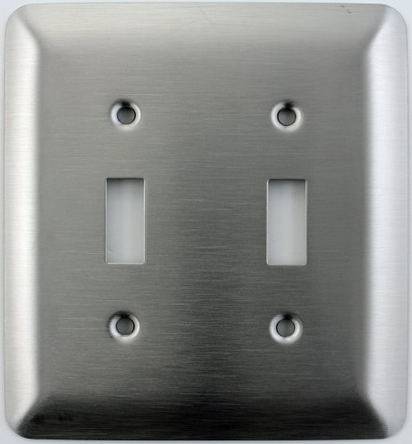 Mulberry Princess Style Satin Stainless Steel Two Gang Toggle Light Switch Wall Plate