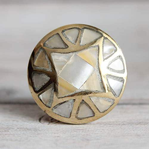 Amazon.com: Mother Of Pearl Drawer Knob With Brass Base