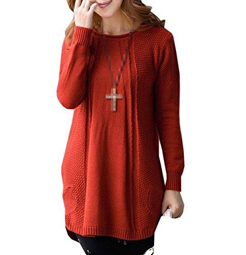 [Xinliya Women's Loose Maternity Crochet Sweaters Coat Pullover Knitwear Outwear, free size, Red] (Maternity Sweater Coat)