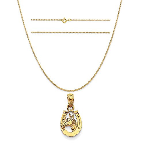 14k Yellow Gold Horseshoe with Horse Head Pendant on 14K Yellow Gold Rope Chain Necklace, (14k Horse Head)