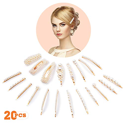 (20 Pcs Pearls Hair Clips for Women Girls, Fashion Sturd Artificial Pearl Barrettes Clip Pins for Ladies Headwear Styling Decorative Accessories, Elegant Hairpins for Wedding Party Birthday Gifts)