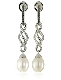 Sterling Silver Freshwater Cultured Pearl with Black and White Diamonds Twist Design Drop Earrings