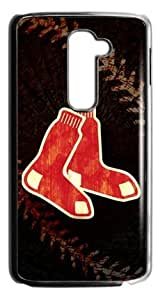 MLB Boston Red Sox Logo With Cool Black Background Case Cover for LG G2 (Fit for AT&T)