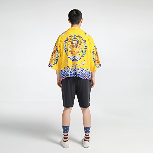 Men Japanese Yukata Coat Kimono Outwear Vintage Loose Top Chinese Dragon by Hao Run (Image #4)