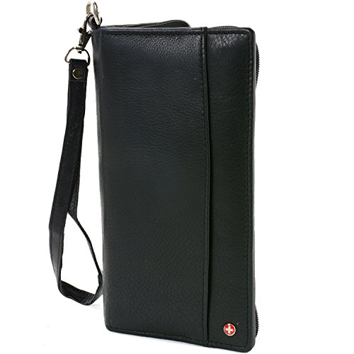 Alpine Swiss RFID Blocking Passport Case Leather Travel Organizer Wallet Black