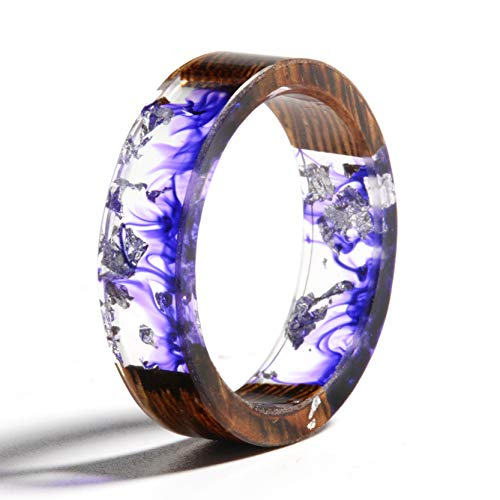 - NDJEWELRY Unique Handmade Wood Resin Ring with Silver Foil Insided Purple Smog Pattern Crystal Band Ring Best Gift for Her Size 7