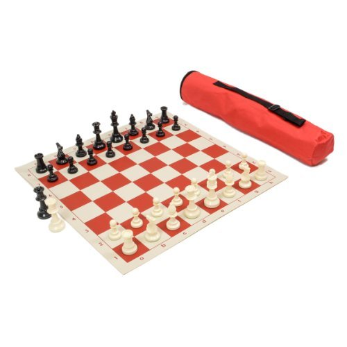(Wholesale Chess Archer Chess Set Combo - Red Chess Board & Bag)