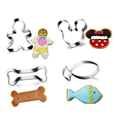 Tmflexe Heavy Duty Biscuit Cutter Set Cookie Cutter-Mickey Mouse Shape,Dog Bone,Fish, Man Shape-4 Piece