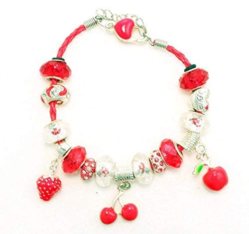 - Red and White Heart Multi Charm Murano Glass Beads on Red Braided Leather Charm Bracelet 7.25