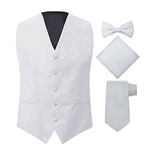 S.H. Churchill & Co. Men's 4 Piece Paisley Vest Set, with Bow Tie, Neck Tie & Pocket Hankie - (L (Chest 44), White) (Wear Formal Vests)