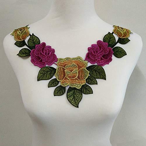1pc Green Flower Lace Fabric Dress Applique Motif Blouse Sewing Trims, DIY Neckline Collar Costume Scrapbooking