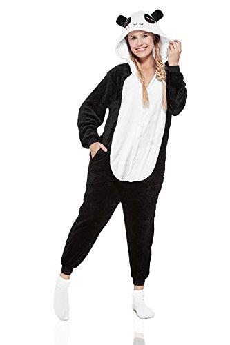 Adult Panda Kigurumi Onesie Pajamas Animal Cosplay Costume Hooded Warm Fleece Pjs (Small, Black/White) (Shorts With Onesie)