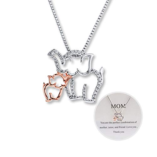 Mom Necklace Mom and Baby Elephant Necklace Mother and Daughter Necklace Dainty Personalized Elephant Jewelry Charm Thanksgiving Necklace Gift for Women for Mom
