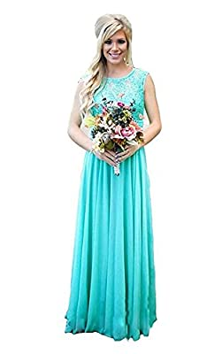 Aokaixin Lace Top Long Country Bridesmaid Dresses for Wedding Party Gowns