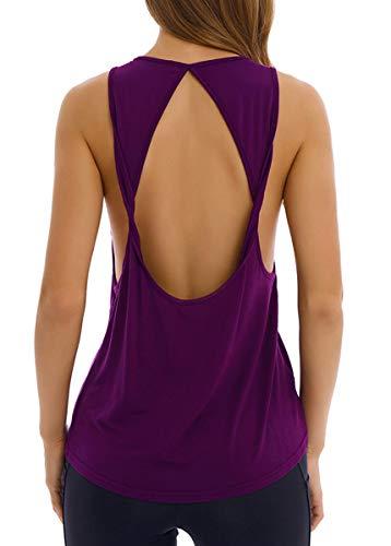 Fihapyli Women's Twist Open Back Yoga Shirts Activewear Sleeveless Workout Tops Sports Tanks Yoga Tops Loose Fit Workout Shirts Exercise Workout Clothes Muscle Tee Shirt Active Tops Darkpurple S