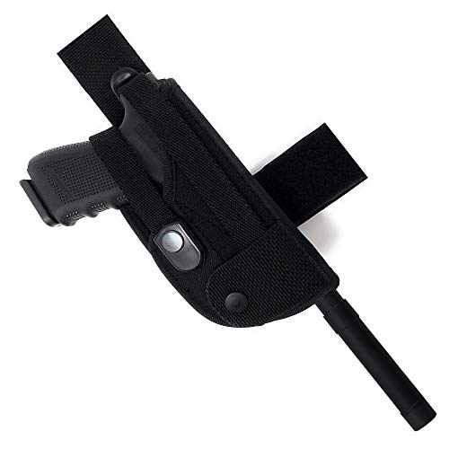 (Tactical Leg Gun Holster with Suppressor Opening - Black Nylon, Soft and Durable Material | Suede Interior for Protection | Wrap Around Belt, Thigh Design for Men and Women, Fully Adjustable System)