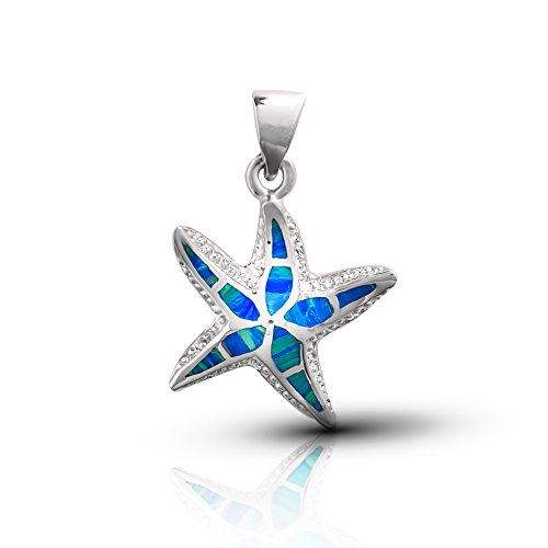 Koral Jewelry Sterling Silver Lab Created Blue Opal Starfish (Sterling Starfish Pendant)