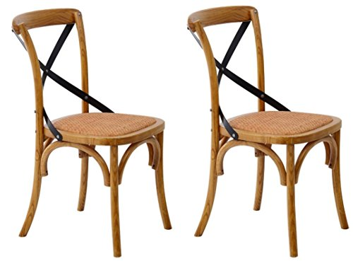 HomCom Vintage-Style X Back Elm Wood Dining Chair – Set of 2 (Brown)