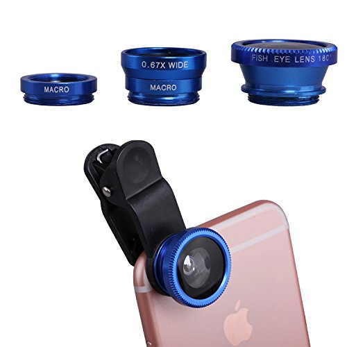Fisheye lens kit,Wide angle lens kit, Micro lens kit, eJiasu Clip-On 180 Degree 3 in 1 Camera Lens Kit for iPhone 6s / 6s Plus / 6 / 5s, Samsung Galaxy S6 / S5, Mobile Phone- Acrylic-Blue