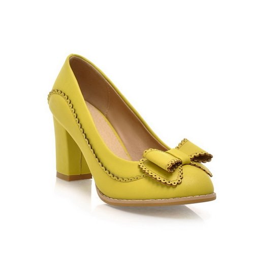 BeanFashion Womens Closed Round Toe Kitten Heel Chunky Heels PU Soft Material Solid Pumps with Bowknot, Yellow, 10 B(M) US