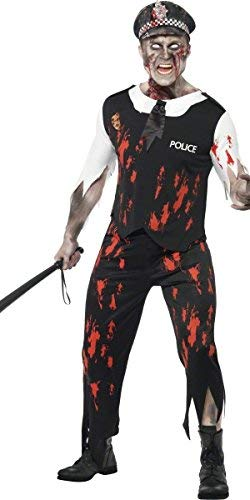 Mens Zombie Policeman Law Dead Cop Corpse Halloween Fancy Dress Costume Outfit (Medium (38-40