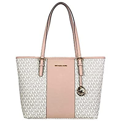 5ba2d9952fb5 Image Unavailable. Image not available for. Color: Michael Kors Jet Set  Medium Carryall Tote Vanilla Ballet Pink