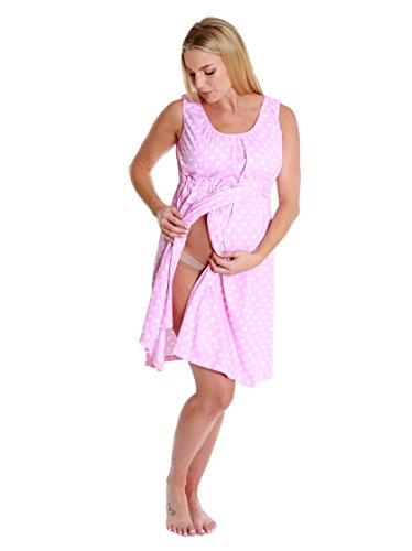 Baby Be Mine 3 in 1 Labor/Delivery/Nursing Gown Maternity (L/XL, Pink Polka Dot)