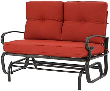 Patiomore Outdoor Loveseat Patio Glider Rocking Bench 2 Seats Wrought Iron Chair Set