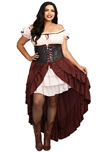 (Dreamgirl Women's Plus-Size Saloon Gal Wild West Costume, Brown,)