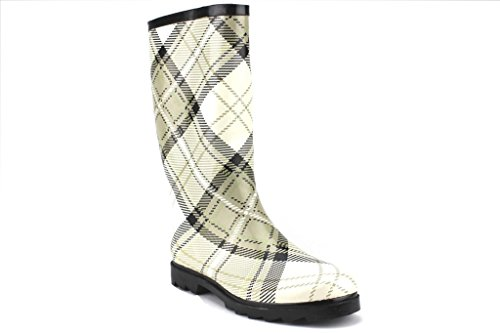 J'aime Aldo West BLVD Ladies Rubber Boots Calf High Plaid Rain Boot, White Plaid, 11 (Boots Rain Women For Aldo)