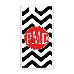 Black & White Classic Zigzag Chevron Noble Red Monogram Fashion Custom Luxury Cover Case With Plastic For HTC Desire 816 by ruishername