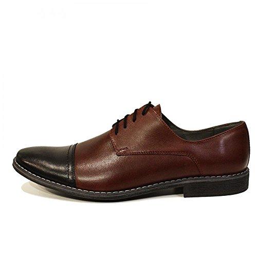 PeppeShoes Modello Giobbe - Handmade Italiano da Uomo in Pelle Marrone Scarpe da Sera - Vacchetta Pelle Morbido - Allacciare