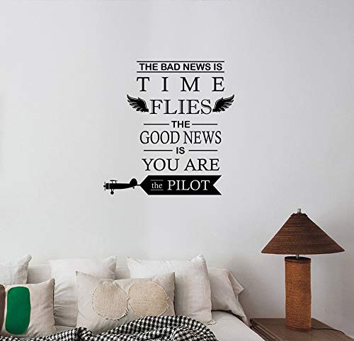 (The Bad News is Time Flies Inspirational Quote Wall Sticker Vinyl Lettering Motivational Saying Decal Life Success Business Art Decorations for Home Living Room Bedroom Office Decor hq52)