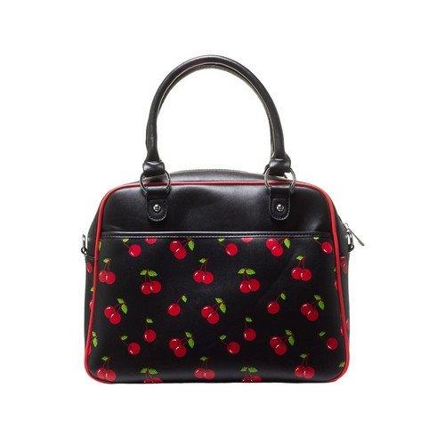 Sourpuss-Womens-Cherry-Print-Bowler-Black-Red-Shoulder-Bag-Purse-Handbag-Pinup