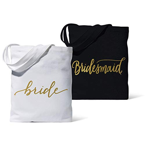 11 Piece Set of Bridesmaid Canvas Tote Bags for Bachelorette Parties, Weddings and Bridal Showers! (11 Totes, Black - Bridesmaid)
