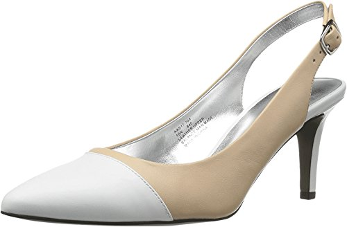 David Tate Women's Soto Pointed Toe Slingback,Camel-White Patent/Calfskin,US 8.5